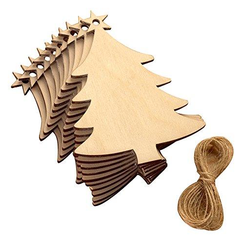 SODIAL(R) 10 pezzi albero di Natale stelle legna chip casa ornamenti piccolo pendente