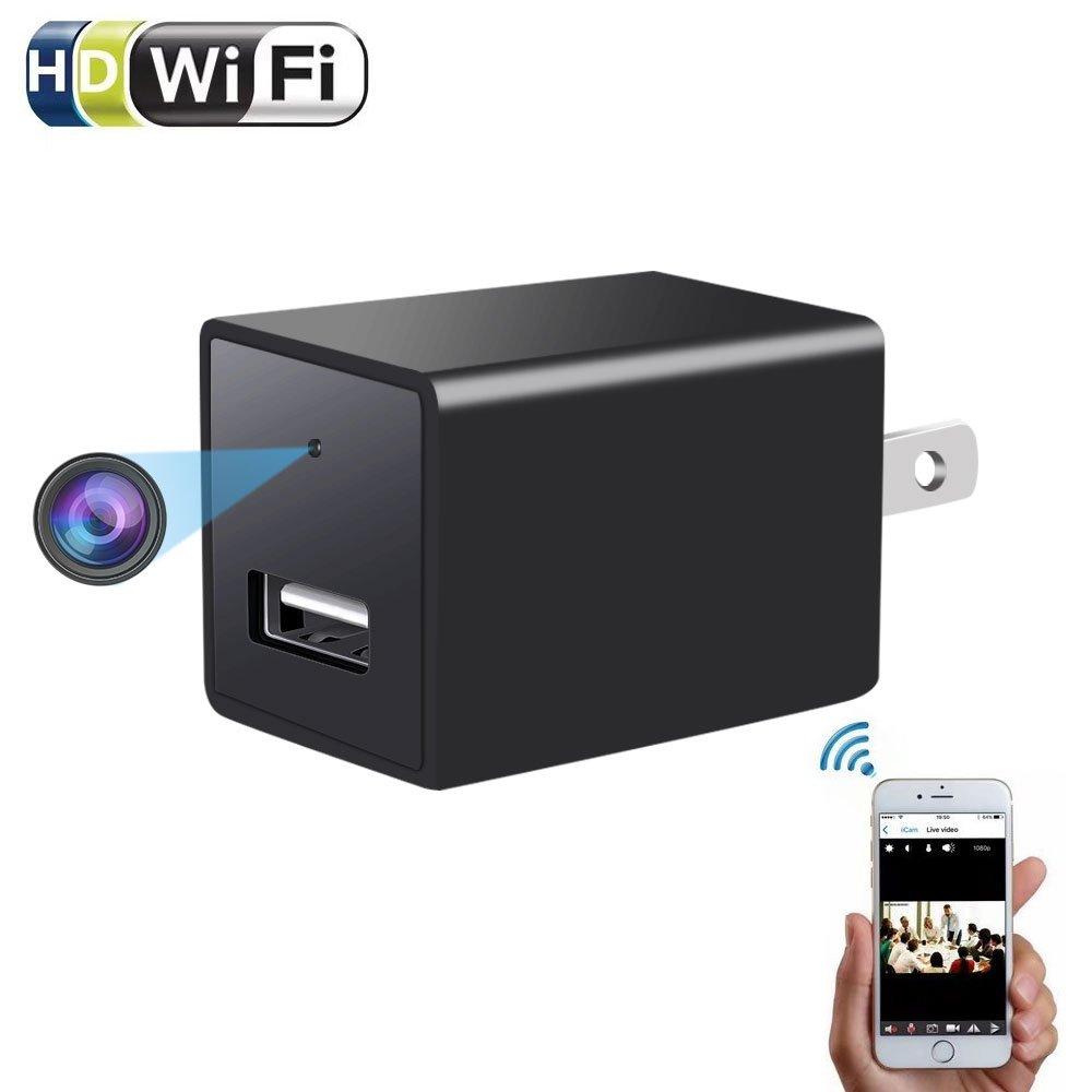 1080p WiFiカメラ充電器 – enklov HD p2pワイヤレスWiFiビデオビデオカメラ、モーション検出、USB ACウォールプラグアダプタミニカメラfor iOS iPhone Android電話Appリモート表示、サポート128 G SDカード B078W7GXQ9