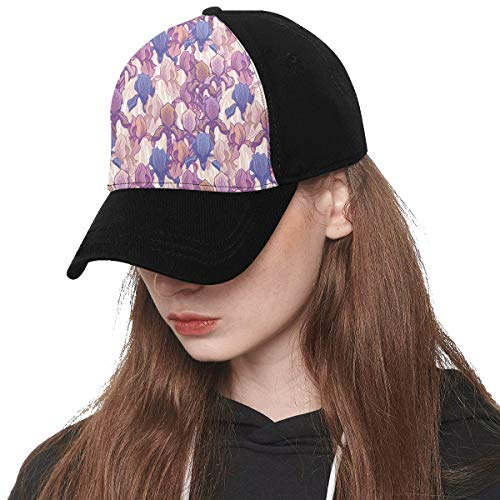 Front Panel Custom Purple Iris Flower Spring Romantic Hand-Painted Art Embroidery Printing Baseball Hat Adjustable Size Curved Dad Cap Suit for Hip-hop Sports Summer Beach Outdoor Activities Unisex