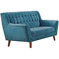 Homelegance Erath Danish Modern Mid Century Loveseat with Tufted Accent, Blue