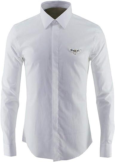 Camisa de Hombre Metal Plata Eagle Solid Color Trabajo ...