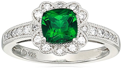 Women's Platinum Plated Sterling Silver Synthetic Emerald Cushion Swarovski Zirconia Antique Halo Ring, Size 6