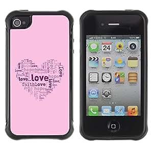 LASTONE PHONE CASE / Suave Silicona Caso Carcasa de Caucho Funda para Apple Iphone 4 / 4S / BIBLE Love Hope Faith