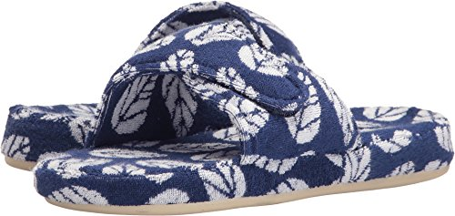 Acorn Women's Summerweight Spa Cotton Slide Navy Leaf - Womens Acorn Slippers Size 6