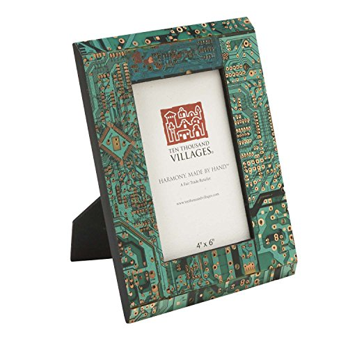 Ten Thousand Villages Repurposed Computer Parts Picture Frame for 4x6 Photo 'Circuit Board Photo Frame' ()