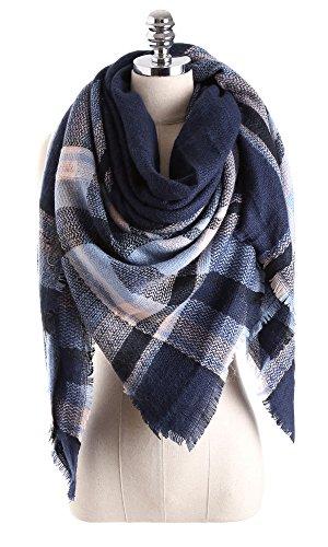 (Women Tartan Scarf Stole Plaid Blanket Checked Scarves Wraps Shawl(Plaids Dark Blue))