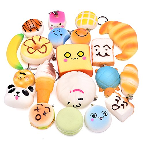 FUN LITTLE TOYS Squishy Mini Slow Rising Kawaii Jumbo Food Scented Squishies Key Chains-20 PCs for Party Supplies, Kids Classroom Prizes, Party Bag Fillers