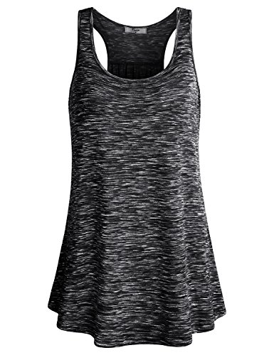 Cestyle Workout Clothes for Juniors, Womens Athletic Wear Space Dyed Sleeveless Tunic Fitness Knit Racerback Tank Top Deal Day Prime Black Marble XX-Large
