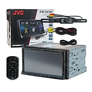 JVC KW-V41BT Car audio Double Din 2DIN 7 Touchscreen DVD MP3 CD stereo built-in Bluetooth Pandora control with iPhone & Android + Remote & DCO Waterproof Backup Camera with Nightvision