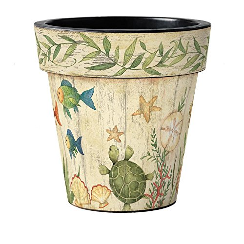 Designer Pot - Studio M Art Planter Designer Plant Pot, 18 x 18-inches, Sea Friends