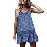 Clothful  Women Dress, Womens Sexy Casual Sleeveless Bohemia Print National Style Mini Floral Dress Blue