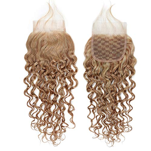 613 Wave - FASHION LINE Brazilian P27/613 Water Wave Blonde 4X4 Closure Curly Human Hair Lace Closure Unprocessed Human Hair Extensions For Free Part Closure