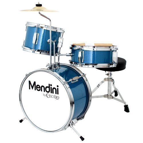 Mendini by Cecilio 13 inch 3-Piece Kids/Junior Drum Set with Throne, Cymbal, Pedal & Drumsticks, Metallic Blue, MJDS-1-BL by Mendini