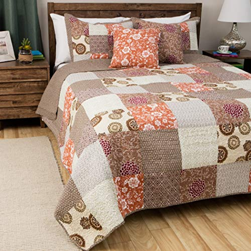 3 Piece Grey Floral Full Queen Size Patchwork Quilt, Oversized Brown Beige Medallion Geometric, Orange White Flowers Geometrical Burgundy Spring Soft Gray, Reversible, Cotton, Synthetic ()