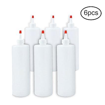 Pawaca Juego de 6 botellas de plástico apretadas para salsas, chinchetas, barbacoas, condimentos