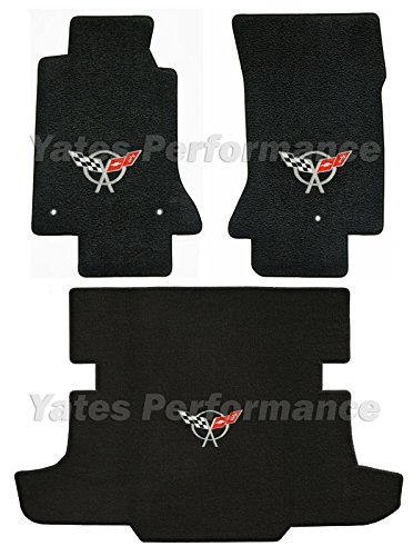 (C5 Corvette Coupe Black 3pc Floor & Rear Cargo Mats - Crossed Flags Logo in Silver)