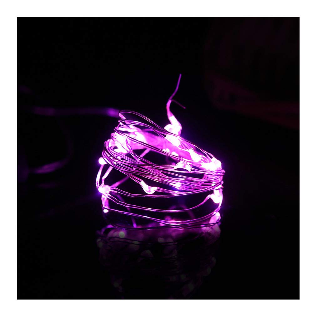 Kanzd 2M 20LED Button Cell Powered Silver Copper Wire Mini Fairy String Lights (Purple, 2M 20LED)