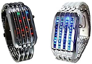 Black and Silver LED Meteor Shower Style Watch Set