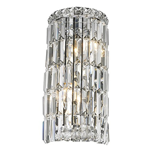 Worldwide Lighting W23511C8 Cascade 4 Light Rounded Crystal Wall Sconce, Chrome Finish and Clear Crystal, ADA Compliant, 8