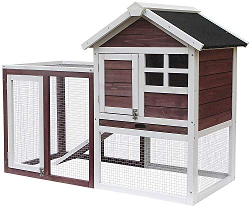 Merax Rabbit Bunny Hutch House with Black Linoleum, used for sale  Delivered anywhere in USA
