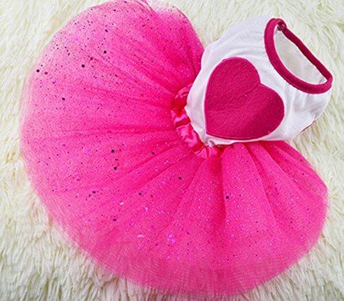 Idepet TM Spring Summer Pet Dog Cat Puppy Tutu Princess Dress Heart Printed Lace Skirt Clothes Pet Apparel (L)