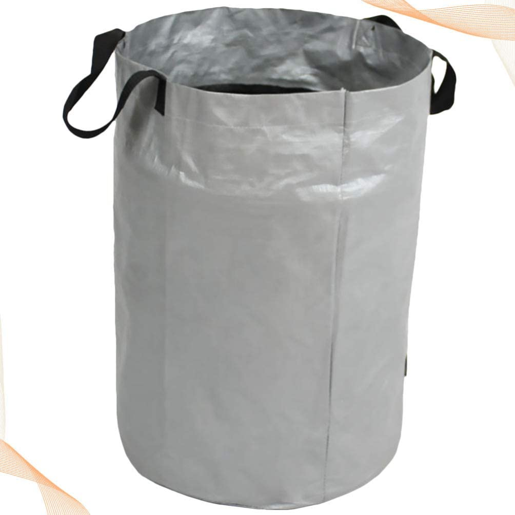 Silver Black DOITOOL Garden Waste Bag Waterproof Refuse Rubbish Grass Sack Reusable Fallen Leaves Holder Outdoor Waste Container for Garden Grass Leaves Cleaning
