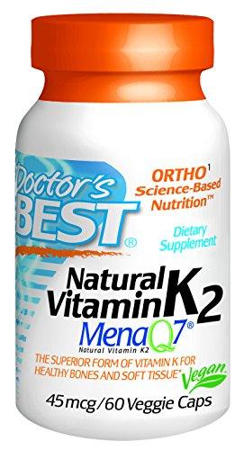Лучший природный витамин K2 MenaQ7 45 мг Растительные капсулы врача, 60-Count