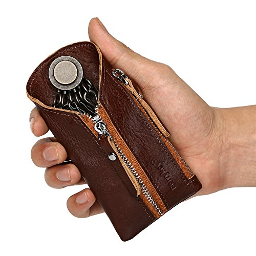 Key Wallet Holder for Car Smart Organizer Genuine Leather Housekeeper Key Case Card Coin Zipper Bag for Auto Remote Fob Brown
