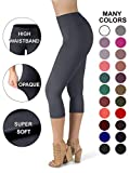 SATINA High Waisted Super Soft Capri Leggings - 20 Colors - Reg & Plus Size (One Size, Charcoal)