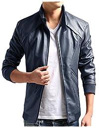 ZSHOW Men's PU Faux Leather Moto Jacket Casual Wear
