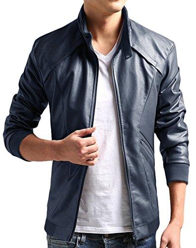 Blue Leather Motorcycle Jacket - 3