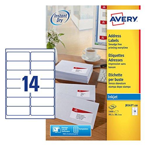 Avery J8163 100 Self Adhesive Addressmailing Labels 14 Labels Per