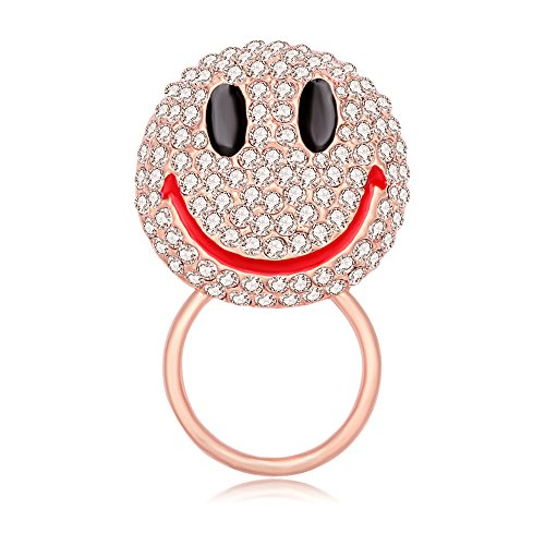 MANZHEN Lovely Cute Crystal Happy Face Smiley Emoji Brooch Pins (Magnetic eyeglass holder-rose - Glasses With Happy Face