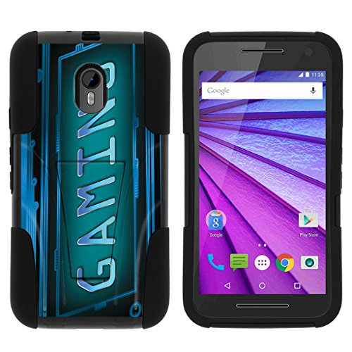 TurtleArmor | Motorola Moto G 3rd Gen Case (2015) | XT1548 | XT1540 [Gel Max] Hybrid Hard Shell Impact Silicone Cover Layer Kickstand Video Games Design Series - Gaming Cyber (Best Games For Moto G)