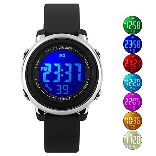 Kids Watch Sport Multi Function 50M Waterproof LED Alarm Stopwatch Digital Child Wristwatch for Boy Girl Black