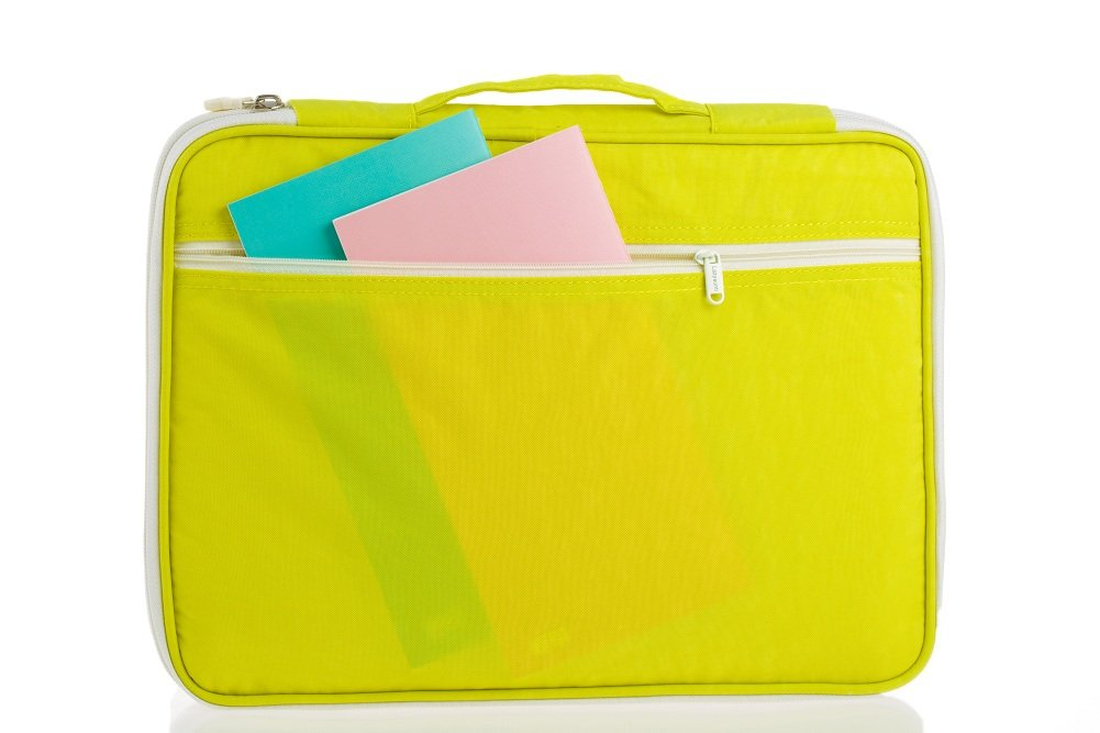 Lazyaunti Document Portfolio Padfolio Folders Organizer Binder Multi Function Water Repellent Travel Pouch Zipper Case for Laptop, Ipad, Kindle, Notebook, Pen (Yellow)