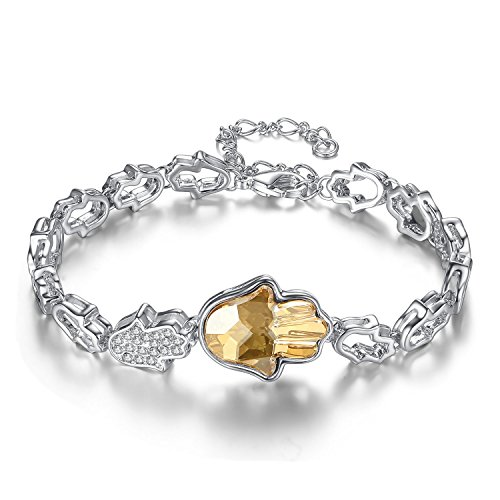 Antique White Lime Crystal - Leafael [Presented by Miss New York] Yellow Lime Topaz Evil Eye Hamsa Hand Silver-Tone Bracelet Made with Swarovski Crystals, 7