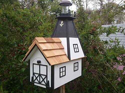 Amish Homemade Solar Nautical Lighthouse Rural Mailbox White with Black Trim
