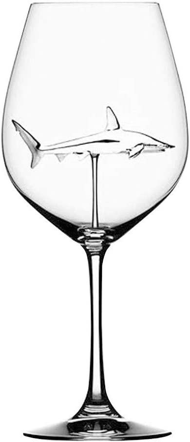 CozyRdm Red Wine Glasses with Shark, Goblet Glass, Lead-Free Clear Glass for Wine Tasting, Birthday, Anniversary or Wedding Gifts