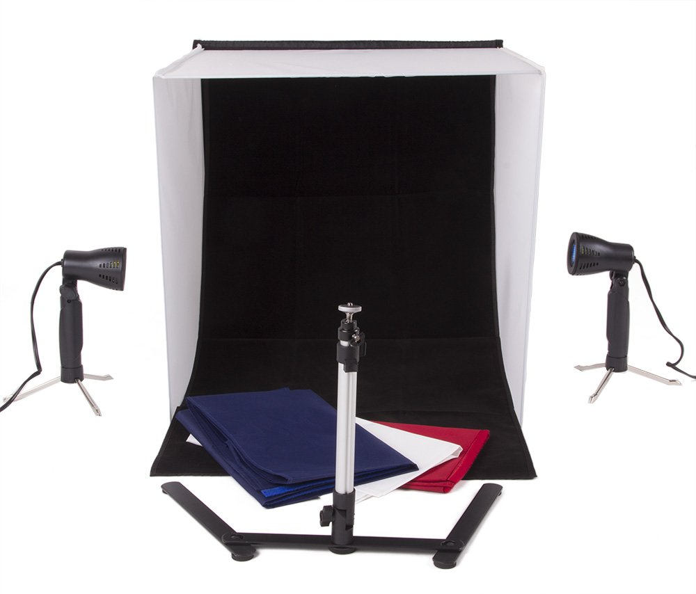 StudioPRO Square 24'' x 24'' Photo Studio Portable Product Photography Light with Light Set, Camera Stand, and Backgrounds by Fovitec