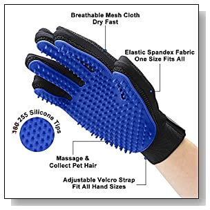 <b>Upgrade Version</b> Pet Grooming Glove - Gentle Deshedding Brush Glove - Efficient Pet Hair Remover Mitt - Enhanced Five Finger Design - Perfect for Dog & Cat with Long & Short Fur - 1 Pair (Blue)