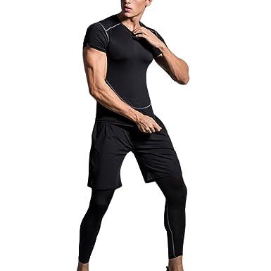 Dooxii Homme 3 Pièces Vêtements de Sport avec Shirt Compression Collant  Running Short Séchage Rapide pour Jogging Workout Football Cyclisme  Ensemble de ... 13dc01262dd