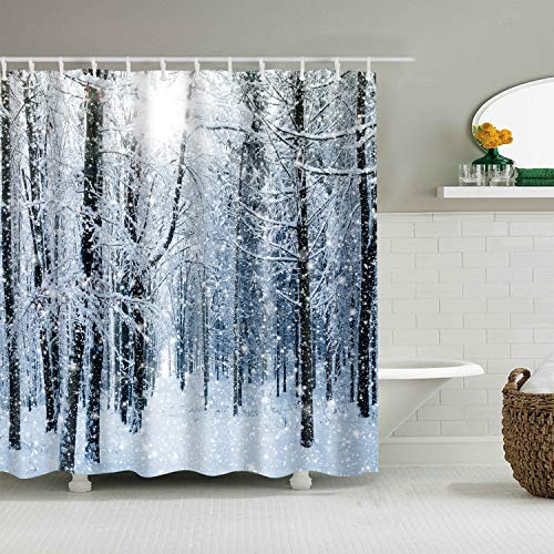 Hibbent Winter Snow on Trees Shower Curtain - Freezing Temperatures Frozen White Forest Environment - Polyester Fabric Waterproof Bathroom Curtain Set with Hooks - 72 x 72 - Shower Snow
