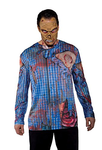 Underwraps Costumes Men's Zombie Costume - Photo Real Shirt - Zombie, Blue/Multi, One (Halloween Fancy Dress Evil Living Dead Zombie)