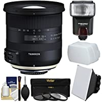 Tamron 10-24mm f/3.5-4.5 Di II VC HLD Zoom Lens with 3 UV/CPL/ND8 Filters + Flash + Soft Box + Diffuser + Kit for Nikon Digital SLR Cameras