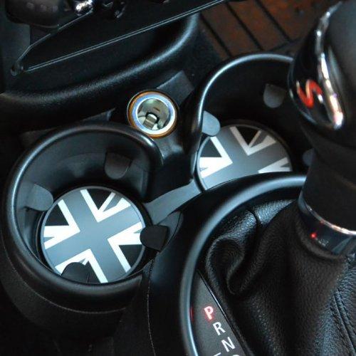 BLACKJACK - MINI Cooper CUP HOLDER Badge with Pull Out Tab (73mm) - 2PC SET / FITS R55, R56, R57, R58, R59, R60, R61 and all S Models