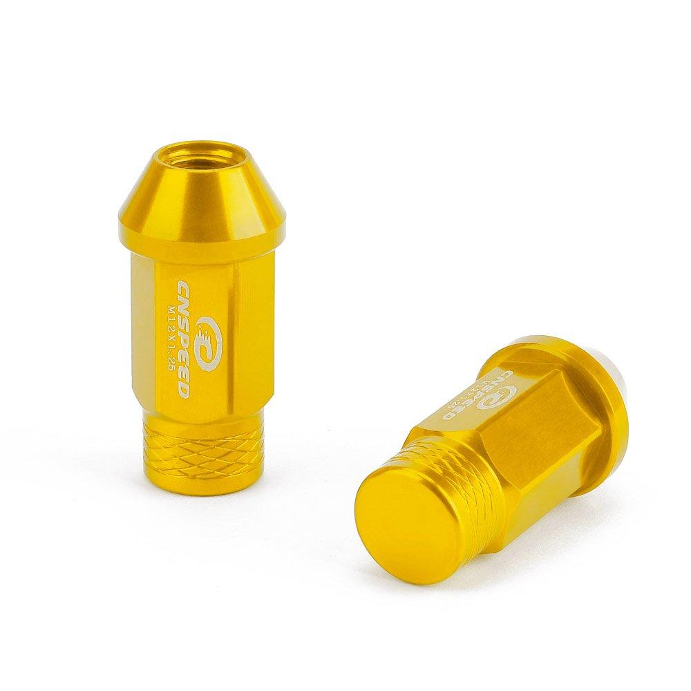 CNSPEED ホイールナット ホイールロックナット M12×P1.25ロックナット 7075-T6高品質軽量アルミナット 20個入り 4色選択可能 (黄色) B07CSMYFKR 黄色 黄色