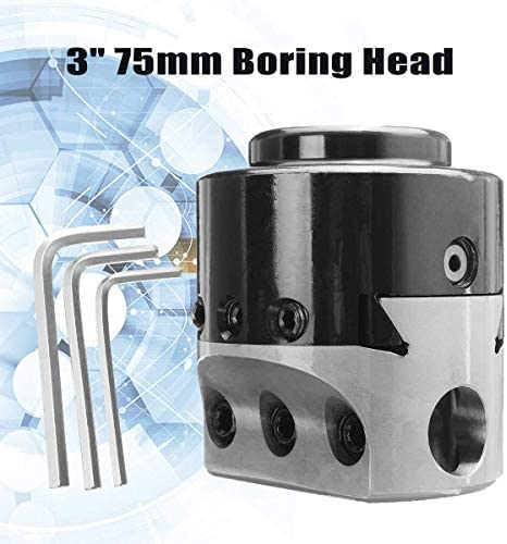 GUONING-L Tool 3 inch 75Mm Boring Head Lathe Milling Tool Holder +3 Wrench for 3/4 inch Hole Boring Cut Wrench