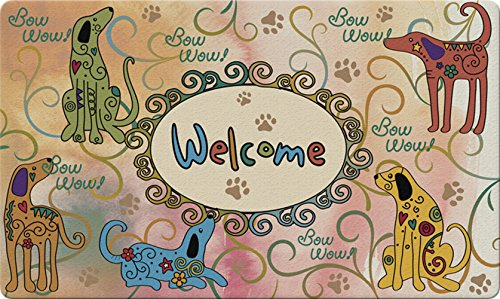 (Toland Home Garden Bow Wow Welcome 18 x 30 Inch Decorative Floor Mat Colorful Puppy Dog Greeting Doormat)