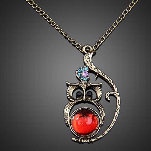 Vintage Studded Red Gem Owl Shaped Long Pendant Necklace Jewelery Fashion CT9Q